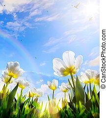 azul, flor, arte, primavera, céu, tulipa, fundo, Páscoa, Dia, Feliz