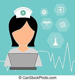 nurse laptop working medicine