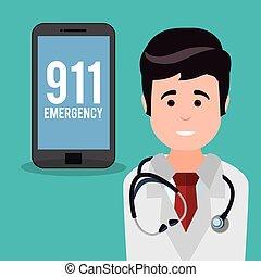 doctor smartphone 911 emergency vector illustration eps 10