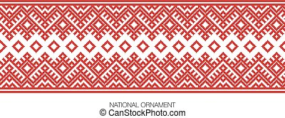 national ornament background - Slavic red and Belarusian...