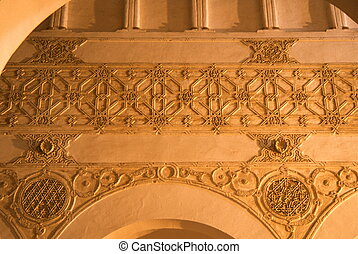 arch detail El Transito Synagogue - ornamental plaster arch...