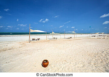 Tropical sand beach - Tropical white sand beach in Zanzibar,...