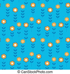 Floral seamless pattern with daisies on a blue background -...