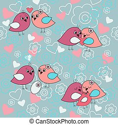 Cute seamless pattern with birds in love with family