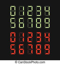 Green and Red Digital Numbers Set. Vector illustration