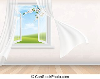 Empty room interior with open window. View through window on...