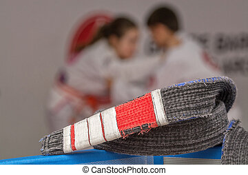 jiu-jitsu belt - Jiu-jitsu belt in front with athletes...