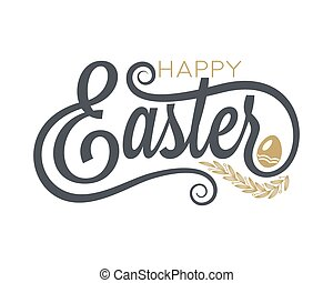 Easter Vintage Lettering On White Background