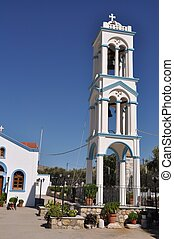 Greek church - beautiful blue and white church tower in...
