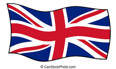 Union Jack flag in wind - Union Jack flag flying in windy,...