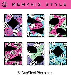 Set of vibrant 80's banners - 6 vibrantly colorful memphis...