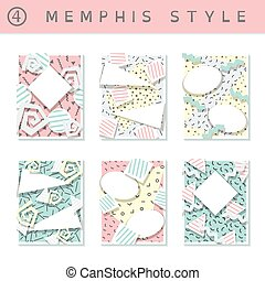 Set of pastel 80's banners - 6 pastel colored memphis style...