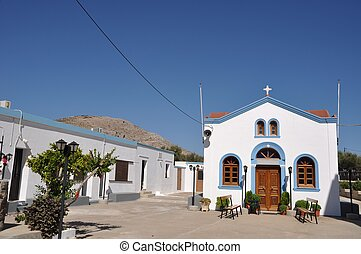 Greek church - beautiful blue and white church in Pserimos...