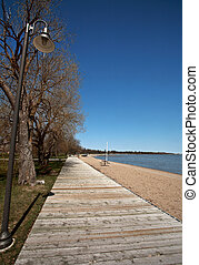 boardwalk and sand at Winnipeg Beach Manitoba