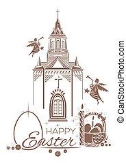 Catholic Church, burning candle, basket of Easter eggs,...