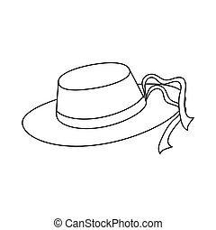 womens sun hat with ribbon icon image vector illustration...