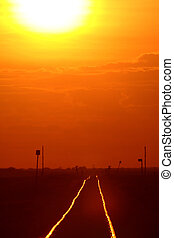 sol, pistas, ajuste, ferrocarril, Brillar