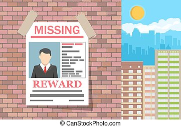 Wanted man paper poster. Missing announce on brick wall....