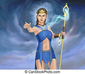 Sorceress - Young sorceress casting a spell. Digital...