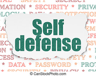 Safety concept: Self Defense on Torn Paper background -...
