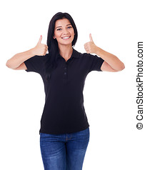 Smiling woman with thumbs up, isolated on a white background