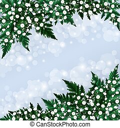 Gypsophila flowers and fern branches floral card