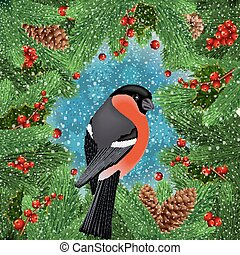 Bullfinch bird with fir tree decoration - Illustration of...