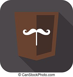 web development shield sign isolated mustache icon on grey...