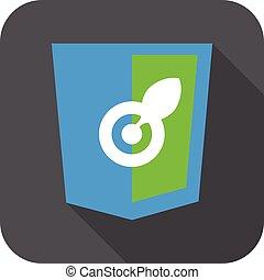 web development shield sign isolated blue green aim leaf...