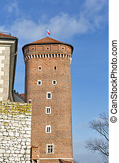 Wawel Royal castle Senator tower in Krakow, Poland. - Wawel...
