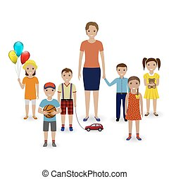 Group of children with toys and kindergarten teacher standing together. Preschool education concept.