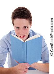 lindo, el suyo, tiro, niño, aislado, escritorio, libro, estudio, blanco, lectura