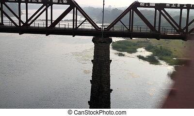 Railways of India 11. Two railway bridge over big river: old...
