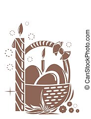 Burning candle and basket with Easter eggs. Easter design