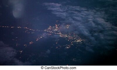 City view from airplane at night