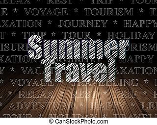 Vacation concept: Summer Travel in grunge dark room