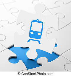 Travel concept: Train on puzzle background - Travel concept:...