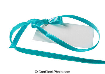 Blank gift tag tied with a bow of green satin ribbon