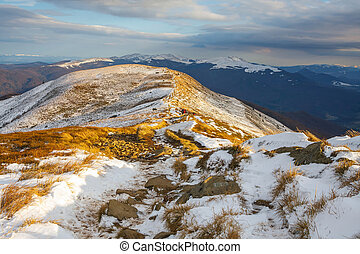 winter mountains landscape, Bieszczady National Park, Poland