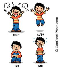 Boy emoticon showing different emotions