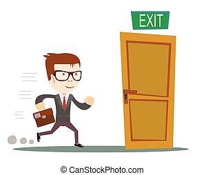 Exit. Businessman running to opened door. Stock vector...
