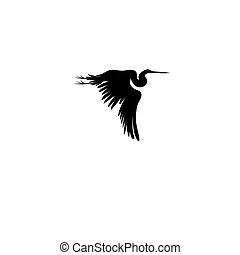 Graphic sign of a flying heron
