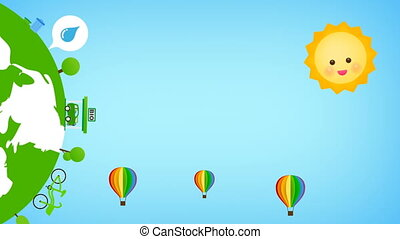 Floating rainbow balloon with eco icon popup for nature...