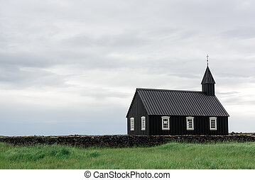 budakirkja - Black wooden church Budakirkja at Snaefellsnes,...