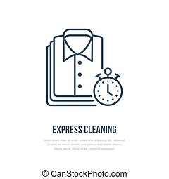 Express dry cleaning icon, laundry line logo. Flat sign for...