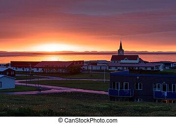 grundarfjordur - Grundarfjordur city near famous kirkjufell...