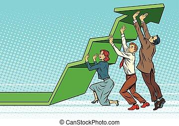 Business team lift up growth chart. Pop art retro vector...