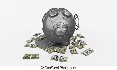 Rotating piggy bank - Steel piggy bank with money rotating...