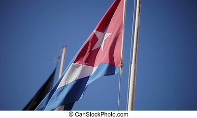 Cuban flag at windy day closeup