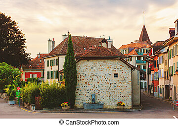 Small medieval town Lutry, canton of Vaud, Switzerland